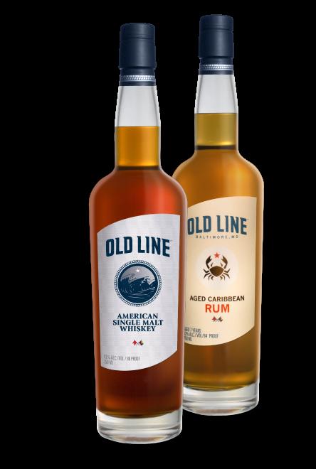 Old Line Single Malt Whiskey and Aged Caribbean Rum Bottles